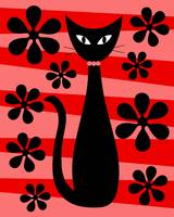 Groovy Flowers with Cat Red and Light Red