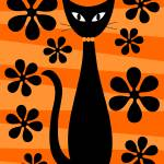 """Groovy Flowers with Cat Orange and Light Orange"" by DMibus"