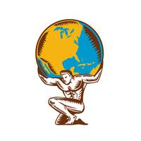 Atlas Lifting Globe Kneeling Woodcut