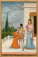 A MINIATURE PAINTING OF A COURTESAN AND A SERVANT