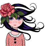 """Big-Eyed Girl with Rose in her Hair, Whimsical Pop"" by joyart"