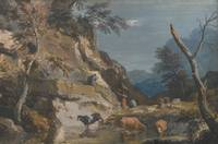 Marco Ricci AN UPLAND LANDSCAPE WITH CATTLE AT A P