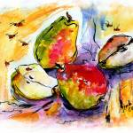 """Three Pears and Bees Provence Watercolor"" by GinetteCallaway"