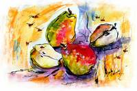 Three Pears and Bees Provence Watercolor