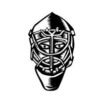 Ice Hockey Goalie Helmet Woodcut