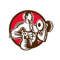 Athlete Lifting Kettlebell Dumbbell Circle Woodcut