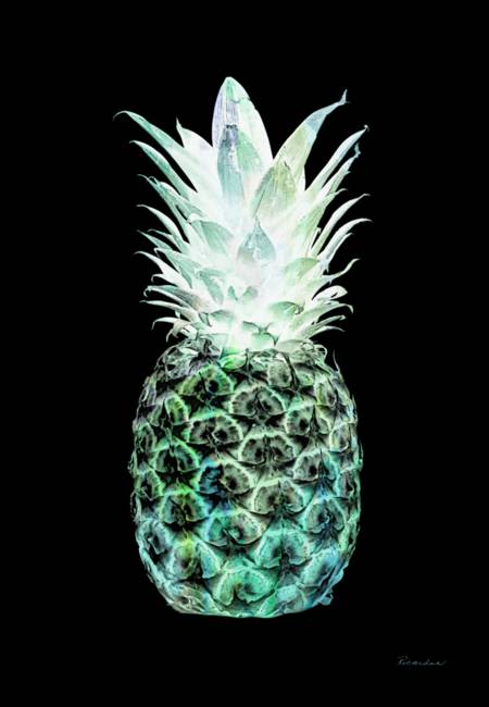 14h artistic glowing pineapple green and blue by ricardos creations