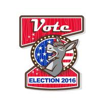 Vote Election 2016 Democrat Donkey Mascot Cartoon
