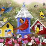 """Primary Colors - Birds and Birdhouses"" by csforest"