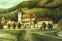 Transylvania Village - Oil Painting