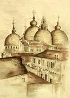 Domes Of Venice - Watercolor Painting
