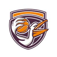 Pelican Passing Basketball Shield Retro