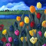 """Tulips with Dutch Landscape, Painting"" by joyart"