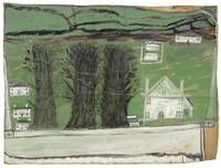 Alfred Wallis 1855 - 1942 THREE TREES,  WHITE HOUS