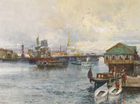 Franz Kopallik 1860 - 1931 BOATS ON THE NEVA