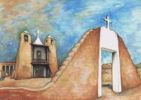 Taos Pueblo New Mexico - Watercolor Painting