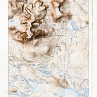 Mount Katahdin, Maine (1930) with map border Art Prints & Posters by Dave Catts