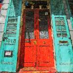 """New Orleans French Quarter House with Red Door"" by RebeccaKorpita"
