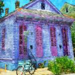 """New Orleans Lavender Cottage with Bicycle Comic Im"" by RebeccaKorpita"