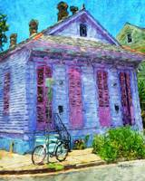 New Orleans Lavender Cottage with Bicycle Comic Im