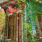 """New Orleans House with American Flag"" by RebeccaKorpita"
