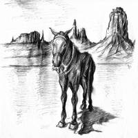 Monument Valley Mule - Western Art Drawing