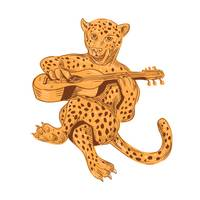 Jaguar Playing Guitar Drawing