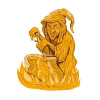 Witch Stirring Brew Pot Drawing