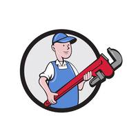 Mechanic Cradling Pipe Wrench Circle Cartoon