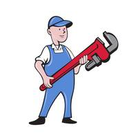 Mechanic Cradling Pipe Wrench Cartoon
