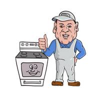 Oven Cleaner With Oven Thumbs Up Cartoon