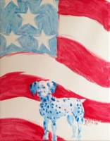 Dalmatian on the American Flag