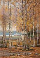 EDVARD WESTMAN, BIRCH TREES IN AUTUMN COLORS.