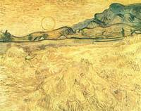 Wheatfield with Reaper and Sun, Vincent van Gogh