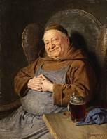 von Grützner, Eduard - A Seated Monk with a Tankar
