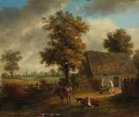 Frans van Kuyck, Landscape with Farmhouse and Catt