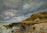 CLAUDE MONET - CHEVAUX À LA POINTE DE LA HÈVE 1864