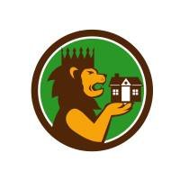 """King Lion Holding House Circle Retro"" by patrimonio"