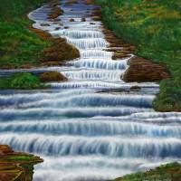 Waterfall Painting 2016 Art Prints & Posters by Stephen Lo Piano