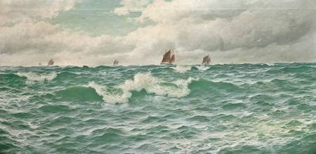 David James (1853-1904)   Fishing boats going out,