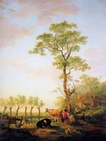 Dutch landscape with cattle and farm - Jacob van S