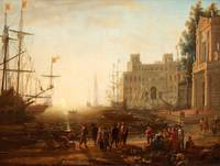 CLAUDE LORRAIN AFTER, CAPRICCIO WITH AN HARBOUR WI