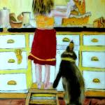"""OP-047 A Girl Making Cake"" by cneartgallery"