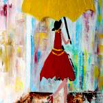 """OP-049 Lady Walking in the Rain"" by cneartgallery"