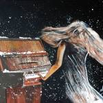 """AP-024 Lady Playing Piano Under Snow"" by cneartgallery"