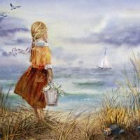Girl Beach Ocean Sailboat Birds And Seashell Art Prints & Posters by Irina Sztukowski
