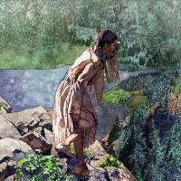 Sacagawea looking out over the landscape Art Prints & Posters by The Fine Art Masters