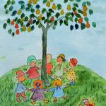 """WP-006 Children Playing Under the Tree"" by cneartgallery"