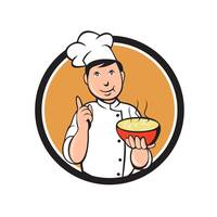Asian Chef Noodle Bowl Circle Cartoon