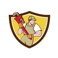 Plumber Holding Pipe Wrench Crest Cartoon